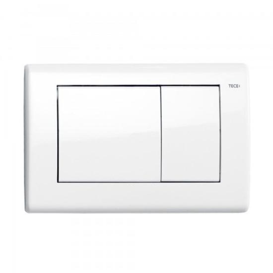 Obrazek TECEplanus - przycisk spłukujący do WC z metalu, biały połysk, podwójny