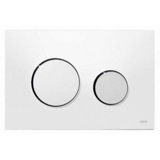 Obrazek TECEloop - przycisk spłukujący do WC z tworzywa, biały, przyciski chrom połysk