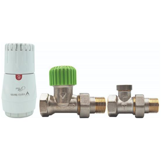 Obrazek ZESTAW ECON PROSTY (zawór termostatyczny, głowica GS.05-06C-PLUS biała-biała, zawór powrotny)  bez nastawy wstępnej