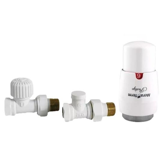 Obrazek ZESTAW ELEGANT PROSTY biały (zawór termostatyczny, głowica PRESTIGE, zawór odcinajacy)