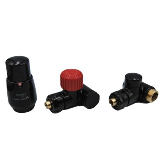 Obrazek ZESTAW INTEGRA KĄTOWY PRAWY czarny błyszczący (zawór termostatyczny, głowica, zawór odcinający)
