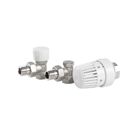 Obrazek Komplet termostatyczny  KĄTOWY 1/2' (econ)  a.7021   (zawór termost. kątowy + głowica (Clasik) + zaw. powrotny)  E  PERFEXIM
